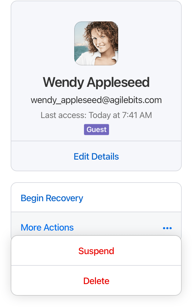 Click the name of the guest, then click More Actions and choose Delete