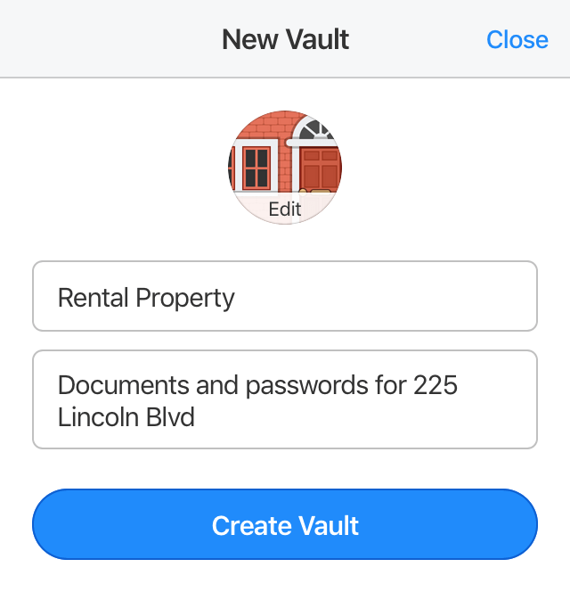 Create a new vault on 1Password.com