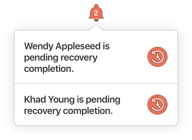Pending recovery notifications on 1Password.com