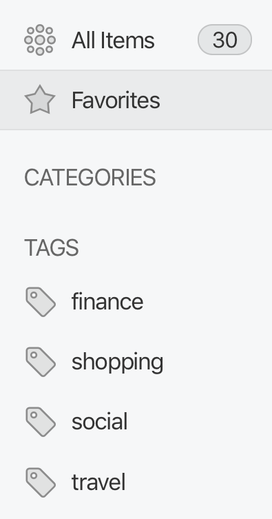 Favorites and tags in the vault sidebar on 1Password.com