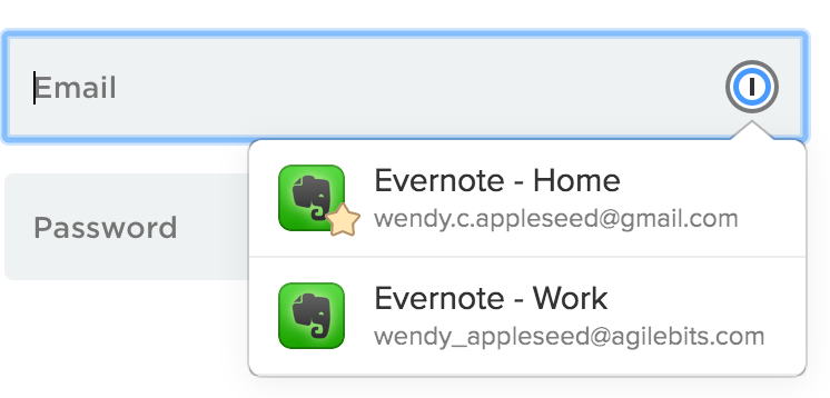 The 1Password icon in a form field
