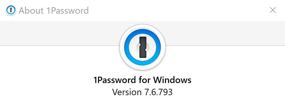 1Password for Windows version number