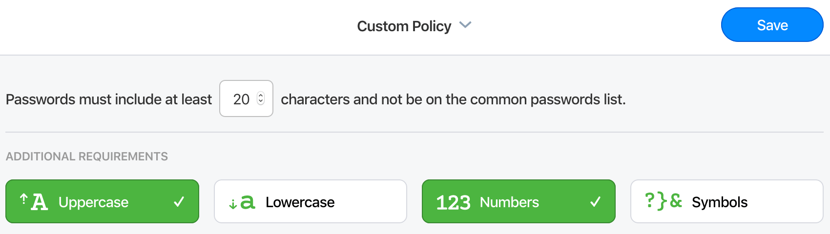 A custom Master Password policy with an adjustable minimum length and the option to require upper and lowercase letters, numbers, or symbols.