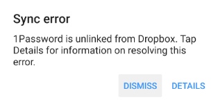 1Password is unlinked from Dropbox.