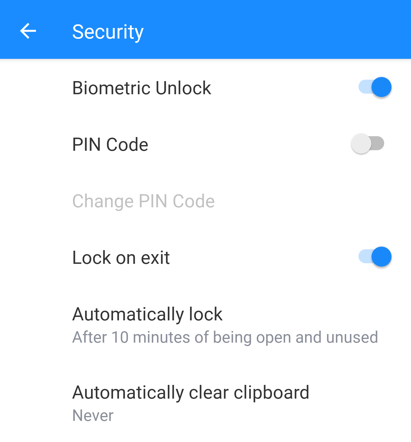 1Password for Android security settings