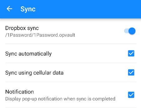 Impostazioni di sincronizzazione in 1Password per Android