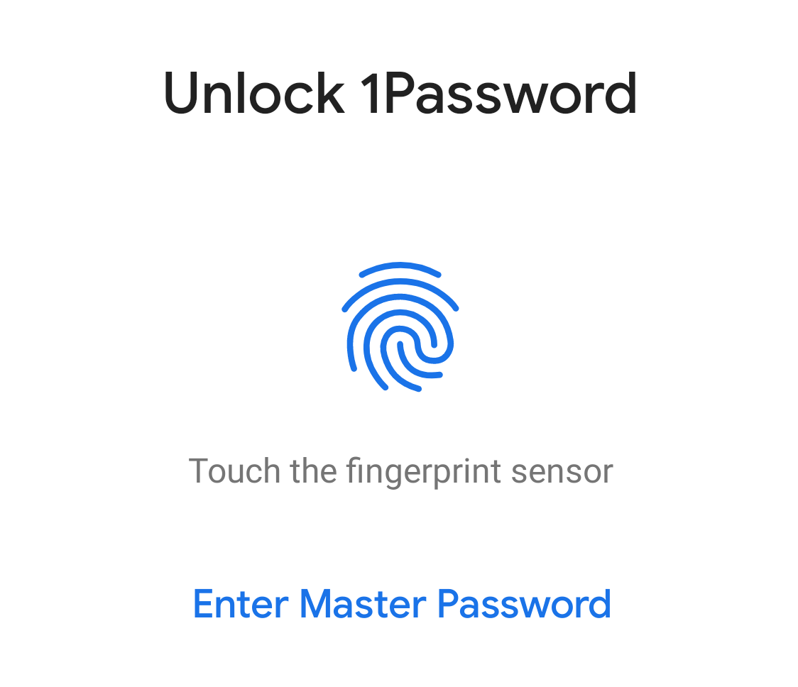 Solicitud de desbloqueo biométrico de 1Password