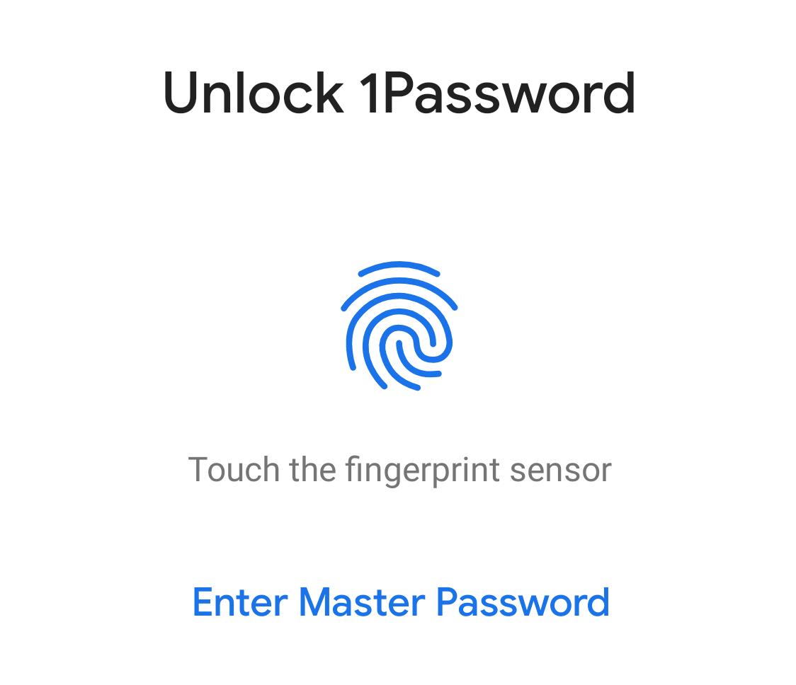 Mensaje para usar el desbloqueo biométrico de 1Password