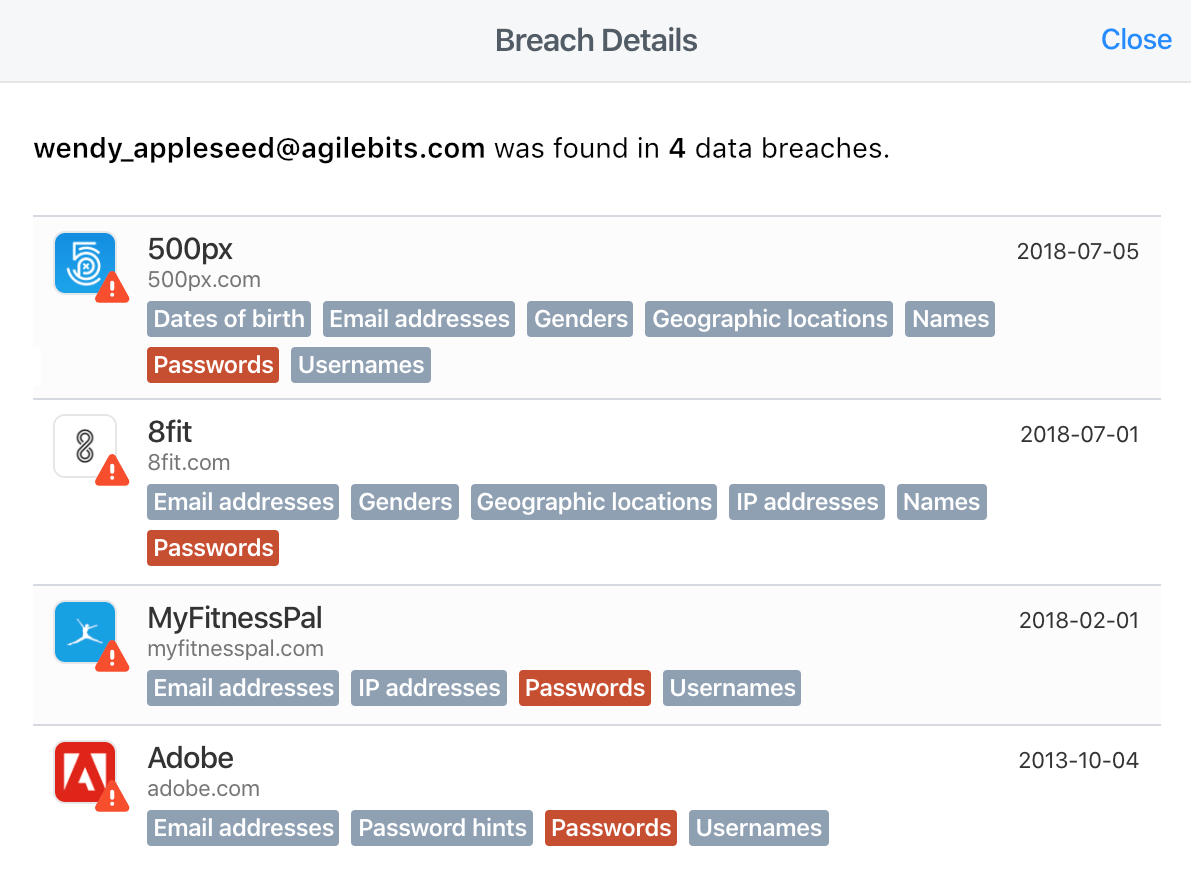 A list of breach details for wendy_appleseed@agilebits.com.