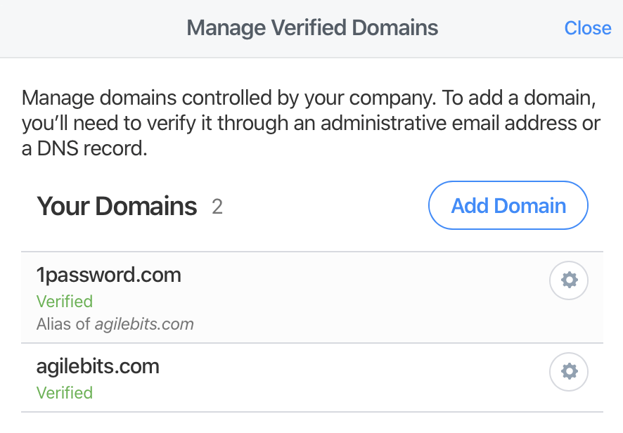 A list of administrative email addresses that can be used to verify ownership of the domain.