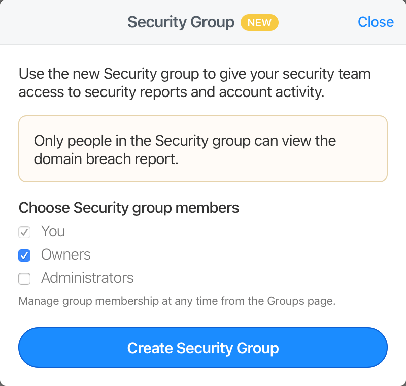 The Create Security Group dialogue