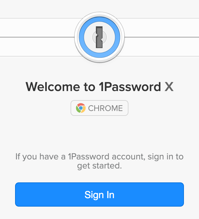 The welcome screen you'll see after you install 1Password X