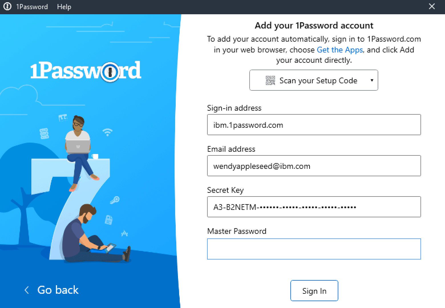 Your account details - enter your Master Password to sign in