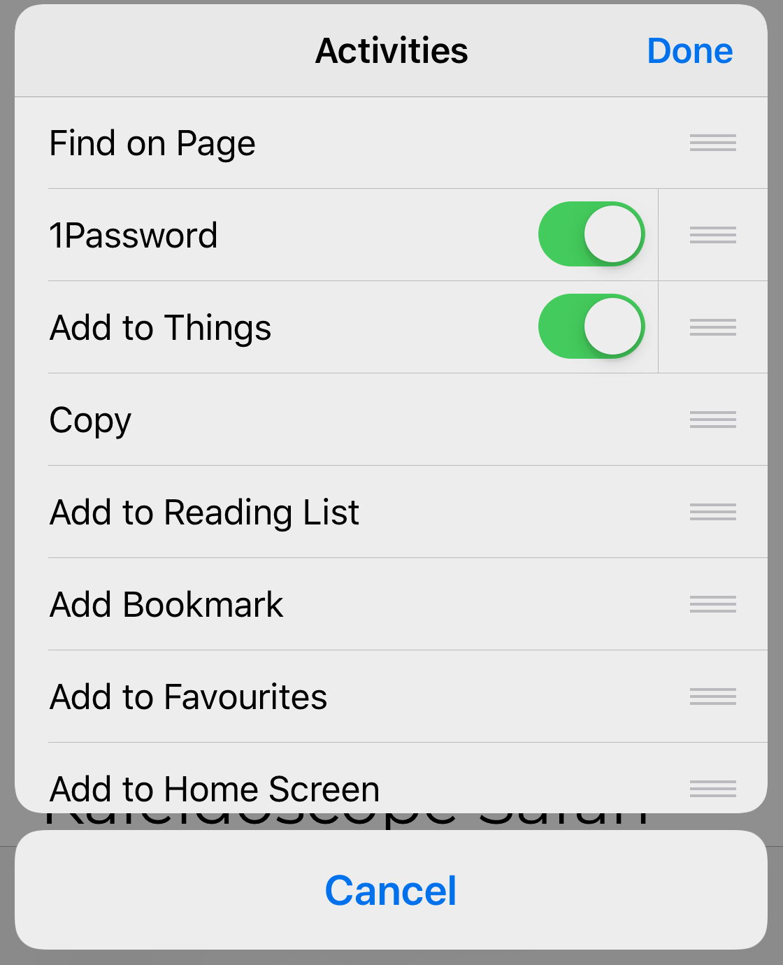 Move 1Password to the top of the Activities list