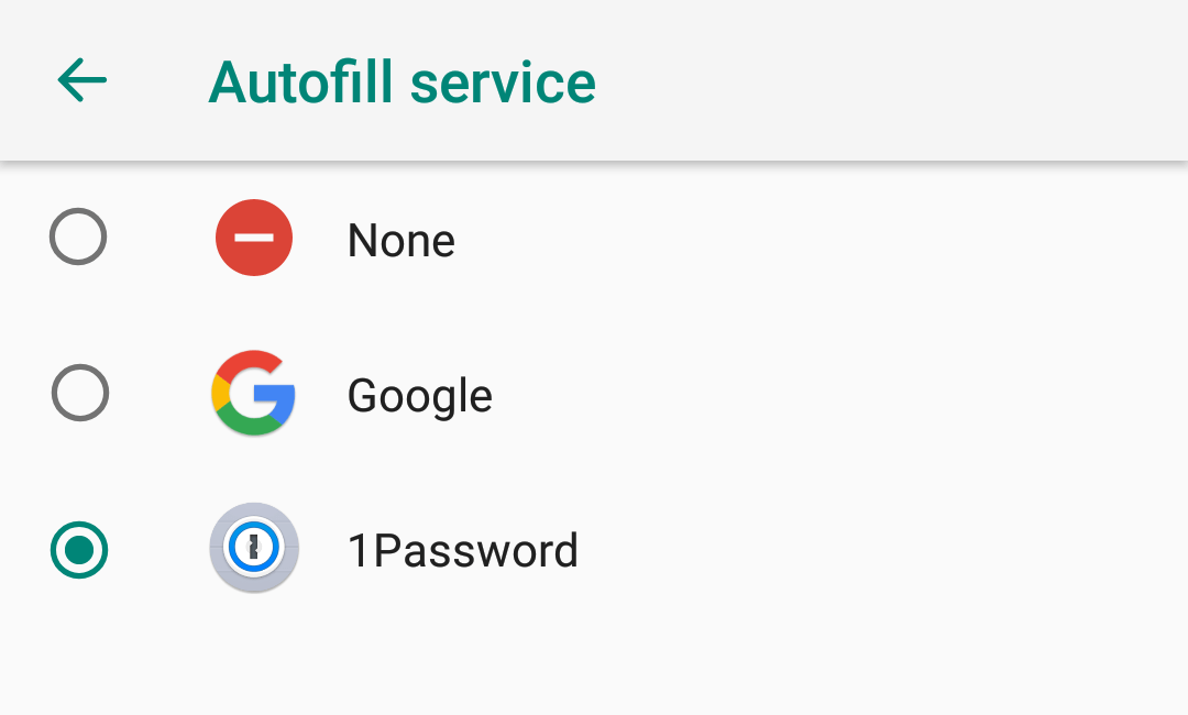 Choose 1Password for the Autofill service