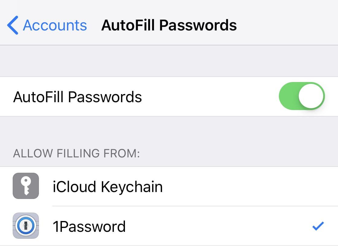 Turn on AutoFill for 1Password