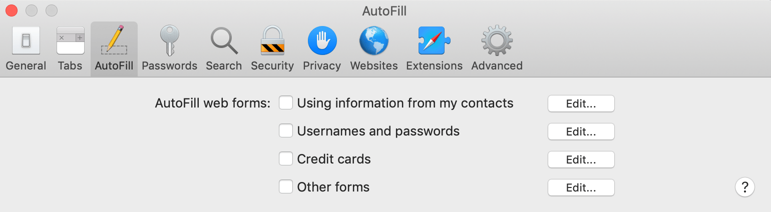 Safari AutoFill settings
