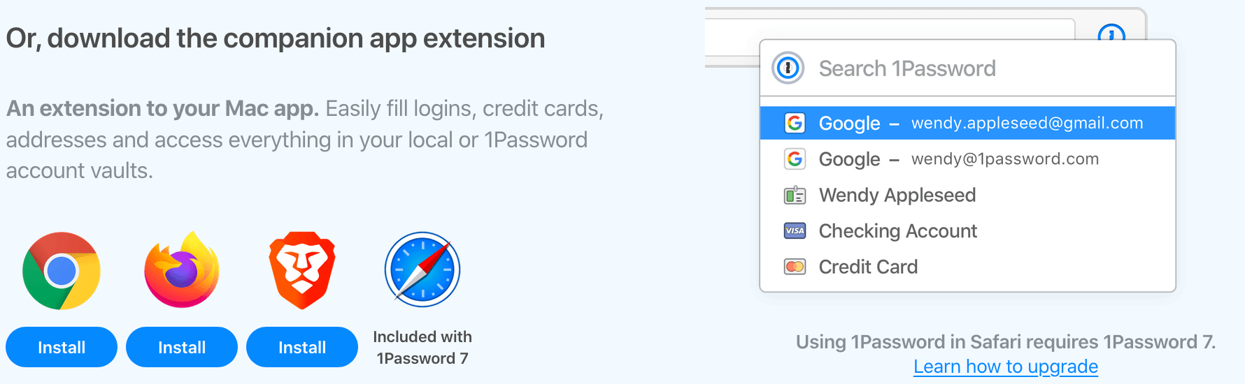 The Downloads section for the 1Password extension