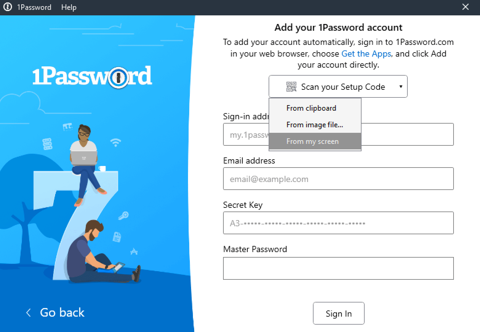 To add your 1Password account details, scan your Setup Code