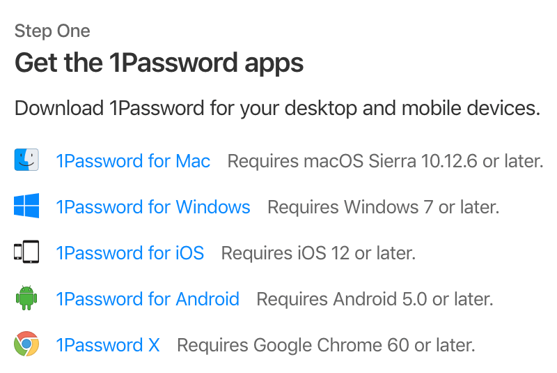Download links for the 1Password apps
