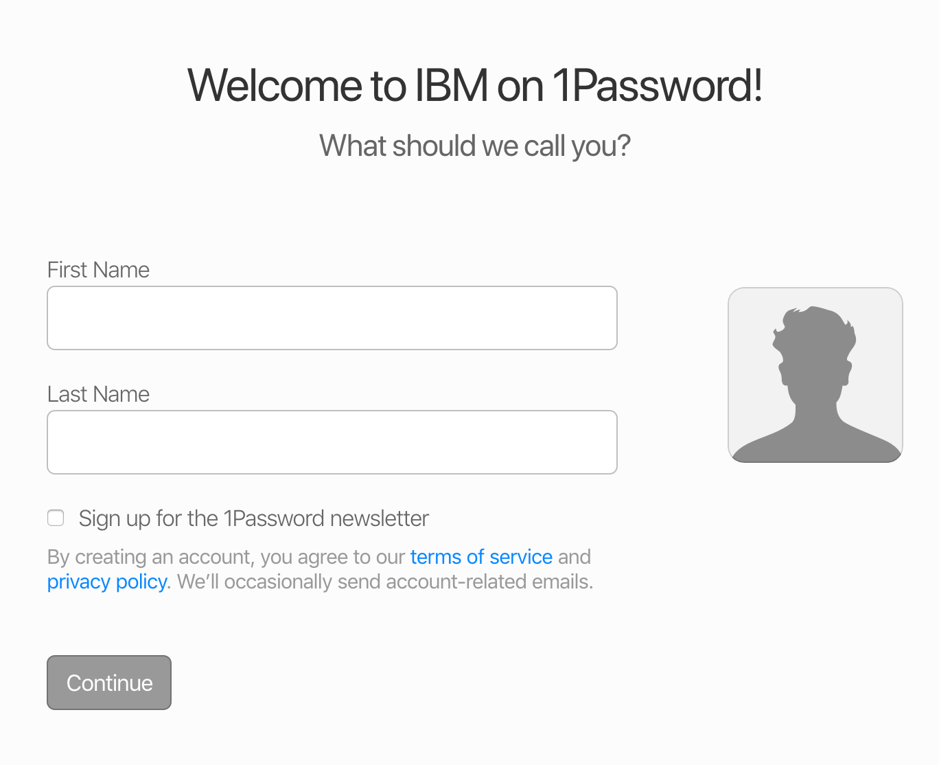 Add your first and last name for your 1Password account