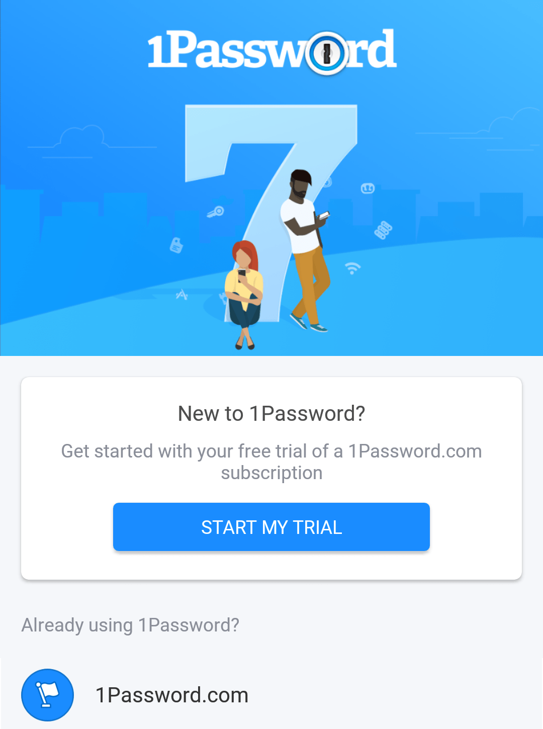 The welcome screen you'll see when you first open 1Password for Android