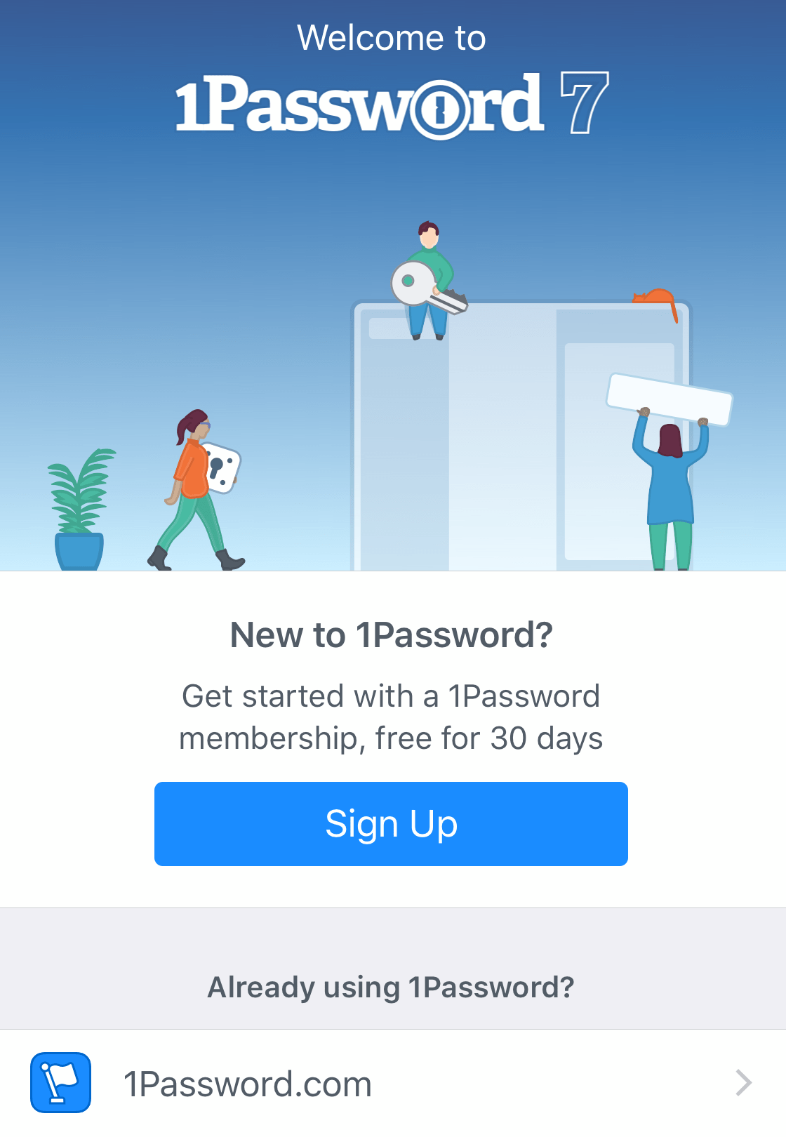 The welcome screen you'll see when you first open 1Password for iOS