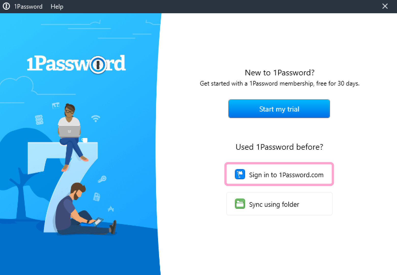 The welcome screen you'll see when you first open 1Password for Windows