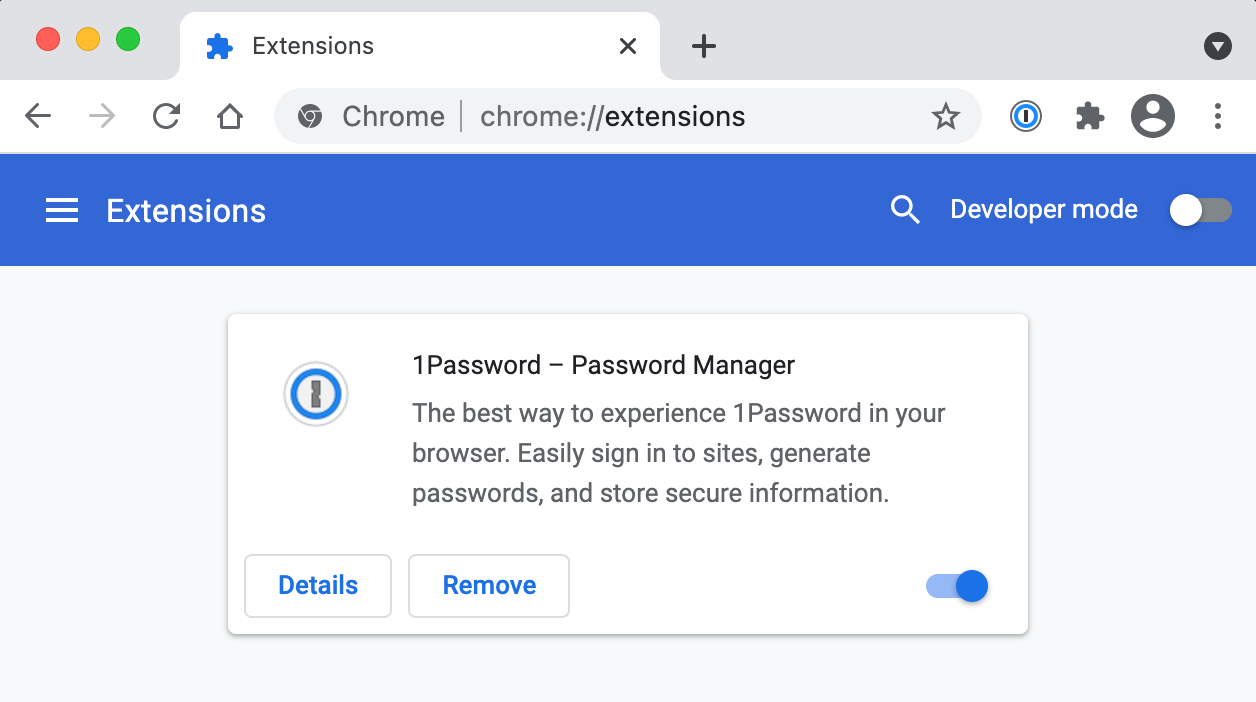 1Password on the Chrome Extensions page