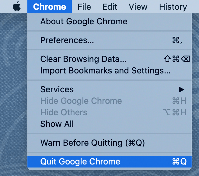 Quit your browser from the menu bar