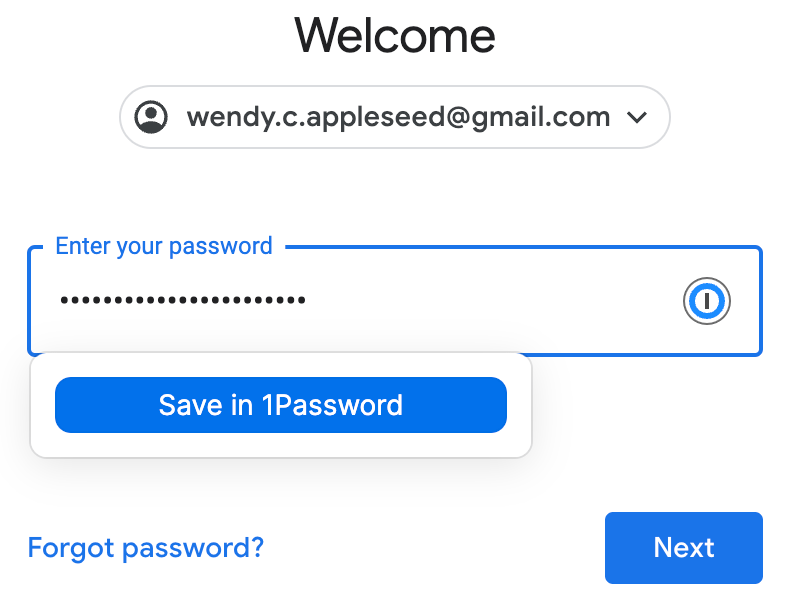 The second page of a login process, which shows a password field