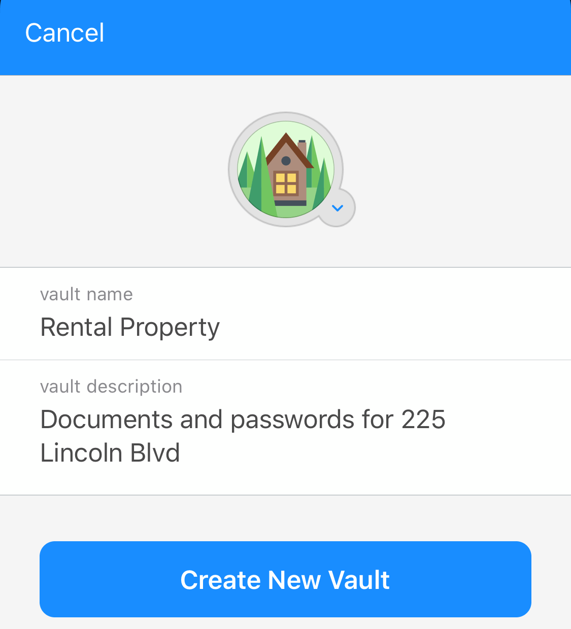 Create a new vault in 1Password for iOS