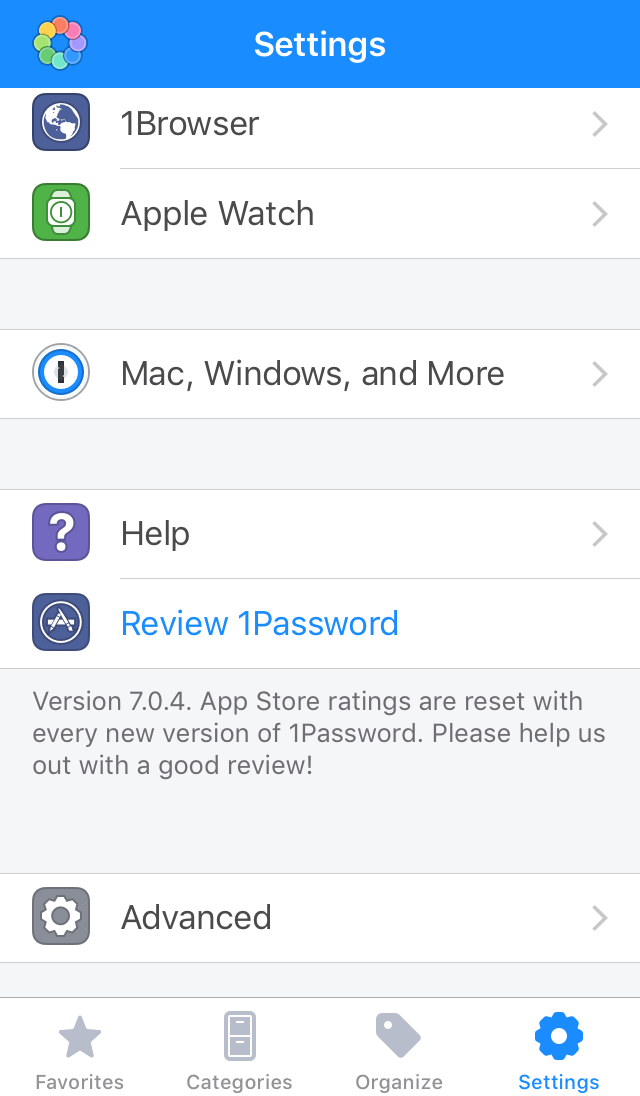 1Password version number
