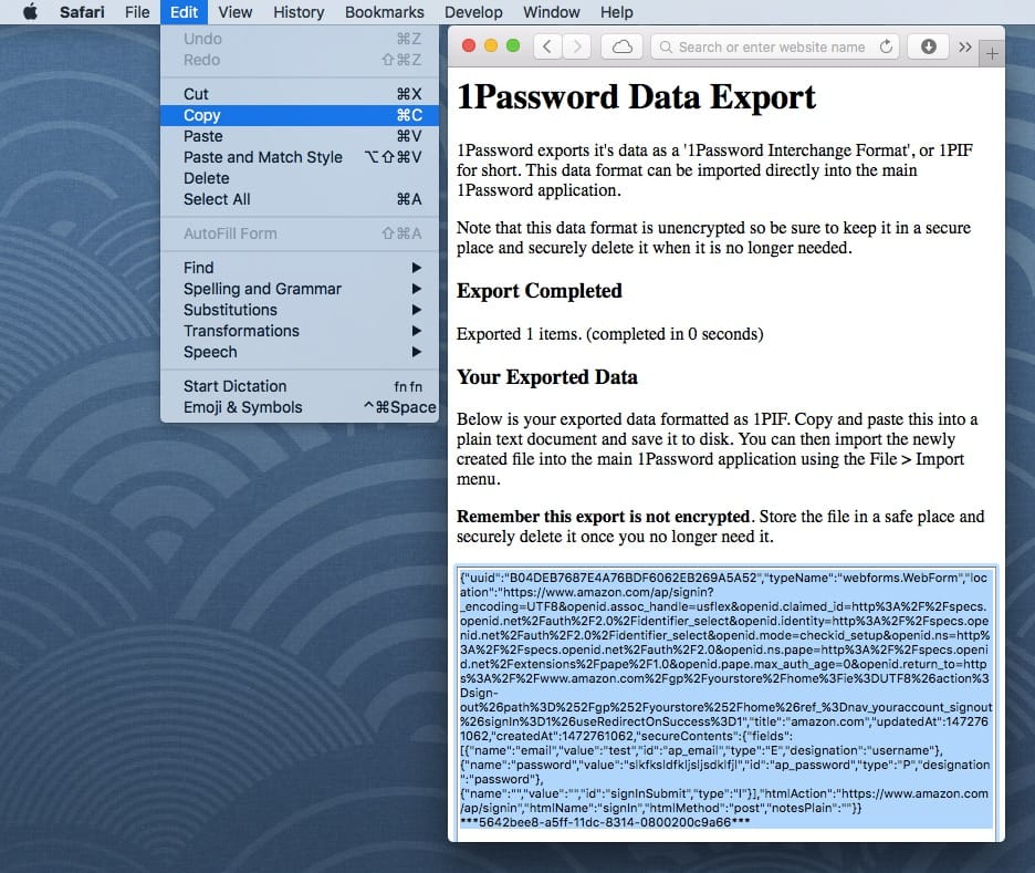The exported 1Password data in a browser window, with the data in the box selected