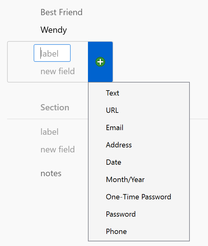 Custom fields in 1Password for Windows