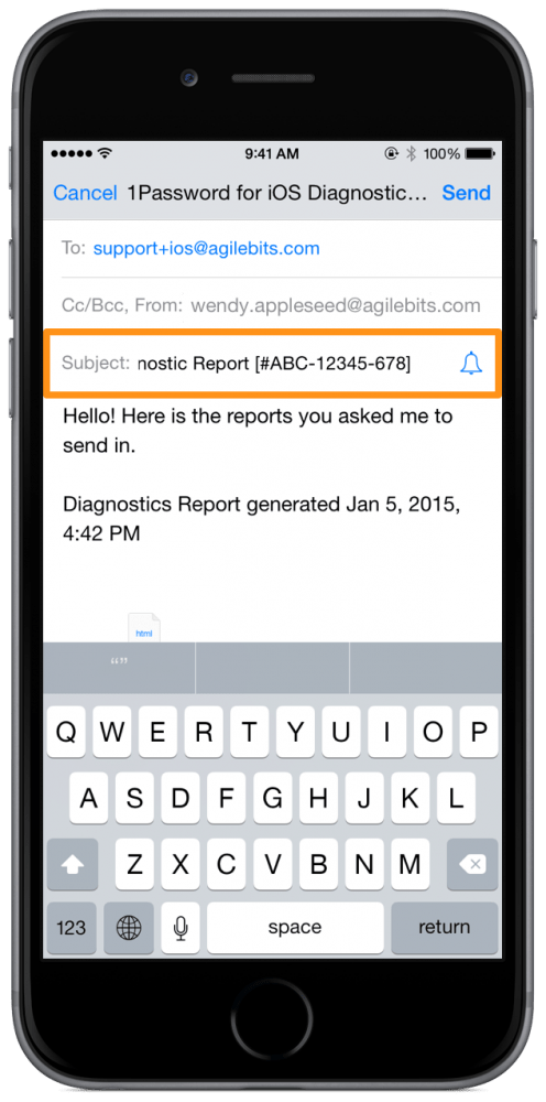 Diagnostics Email With Support ID