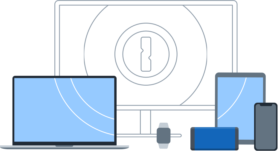 Laptop, desktop, and mobile devices with 1Password