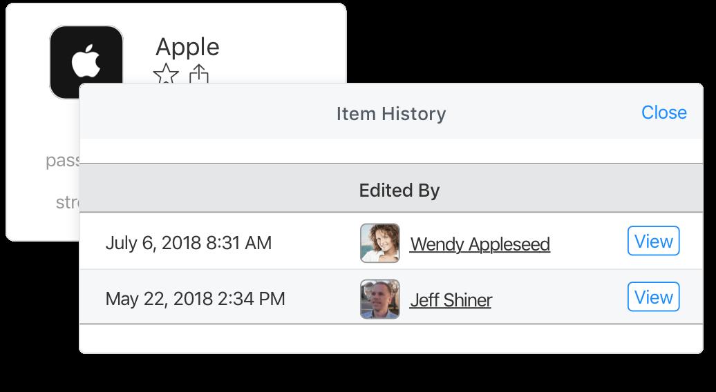 Item history on 1Password.com