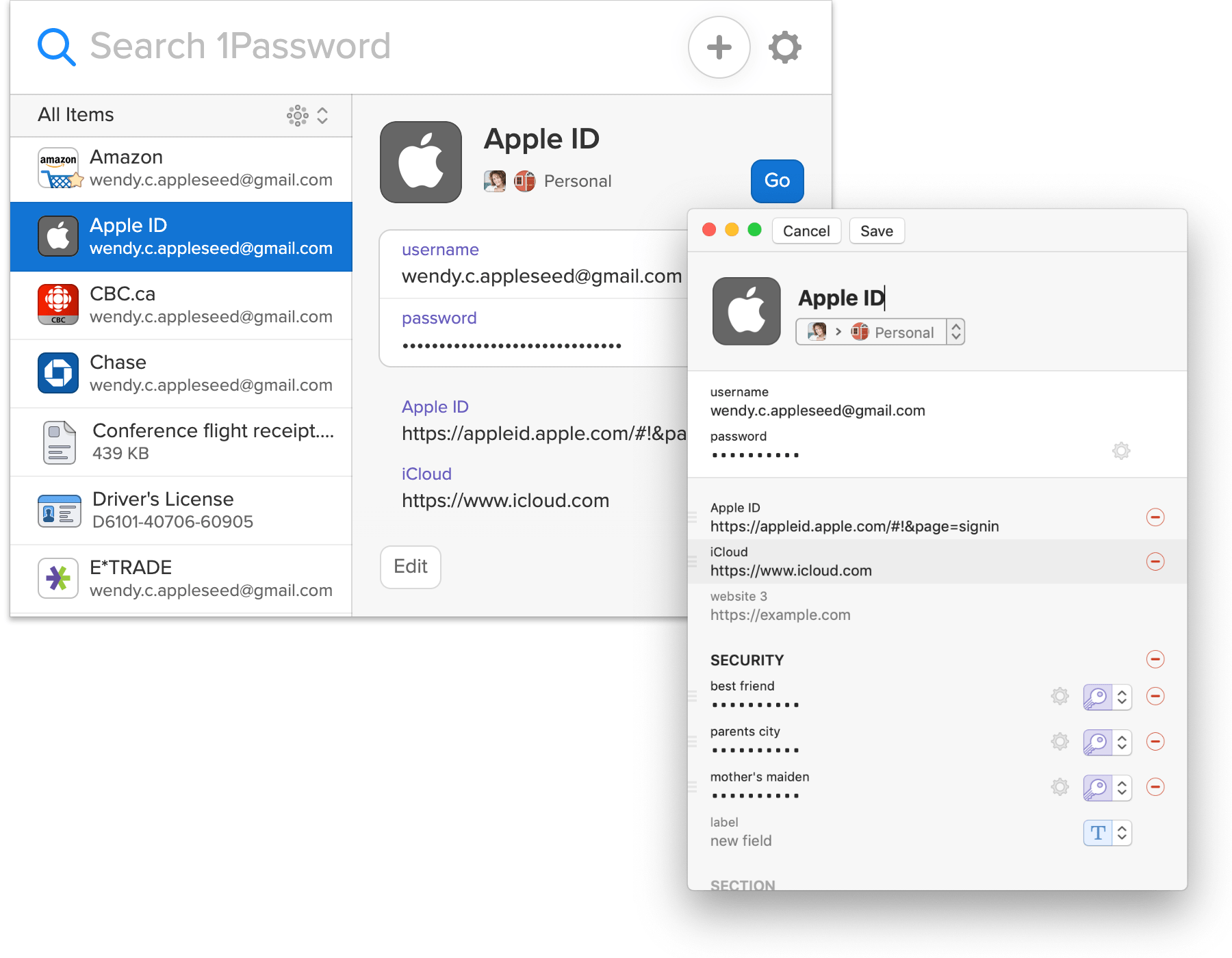 Edit items from 1Password X in 1Password for Mac