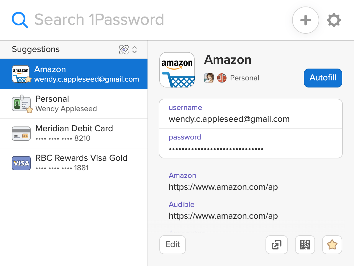 1Password X suggests items based on the page you visit