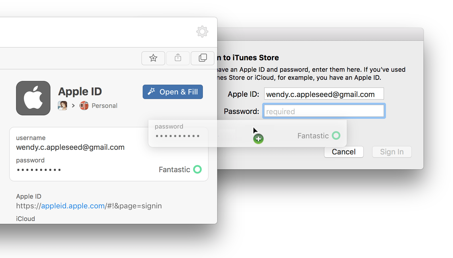 Use 1Password mini to fill in apps