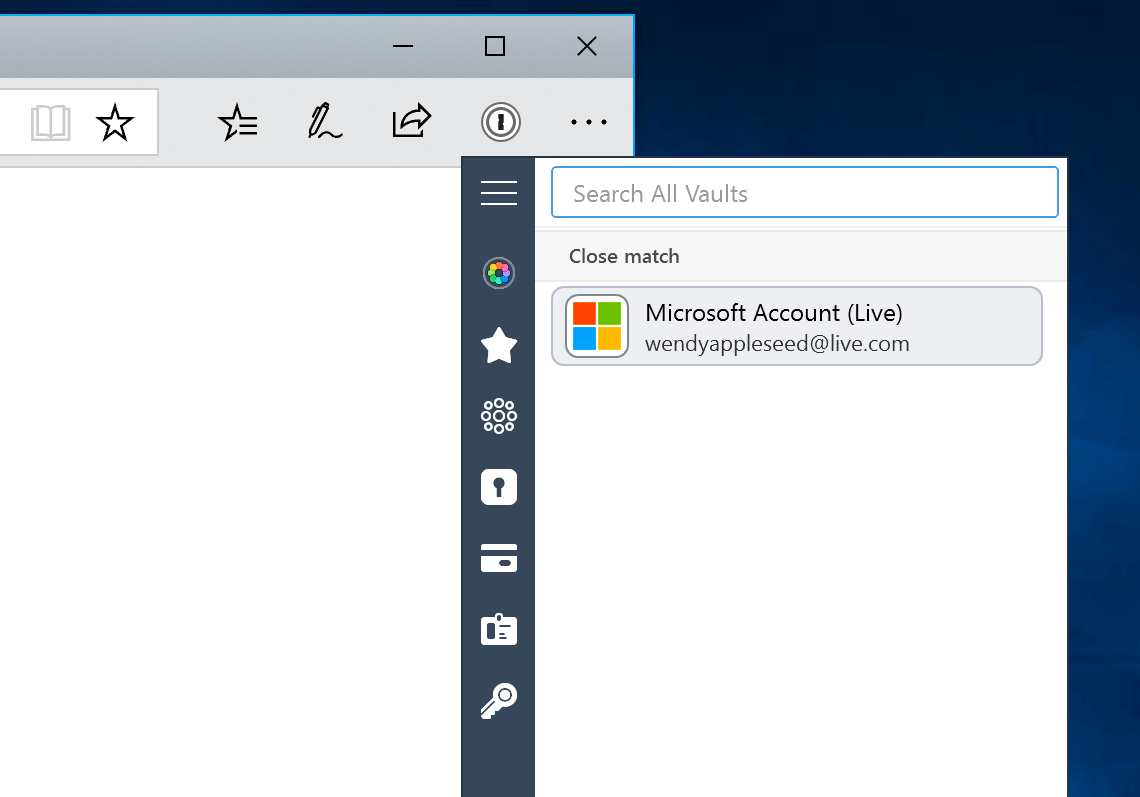 1Password in Microsoft Edge