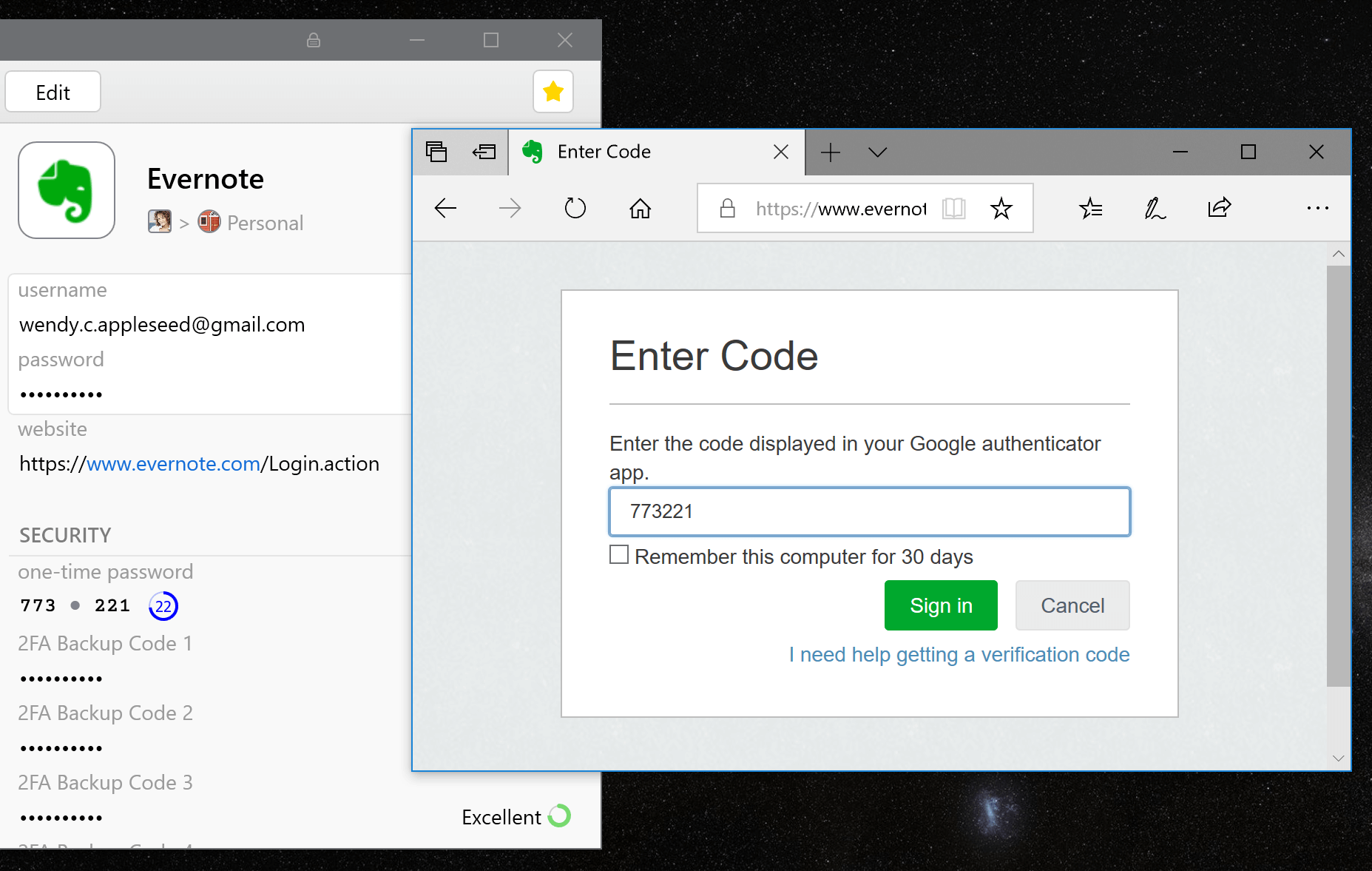 Fill two-factor authentication codes with 1Password