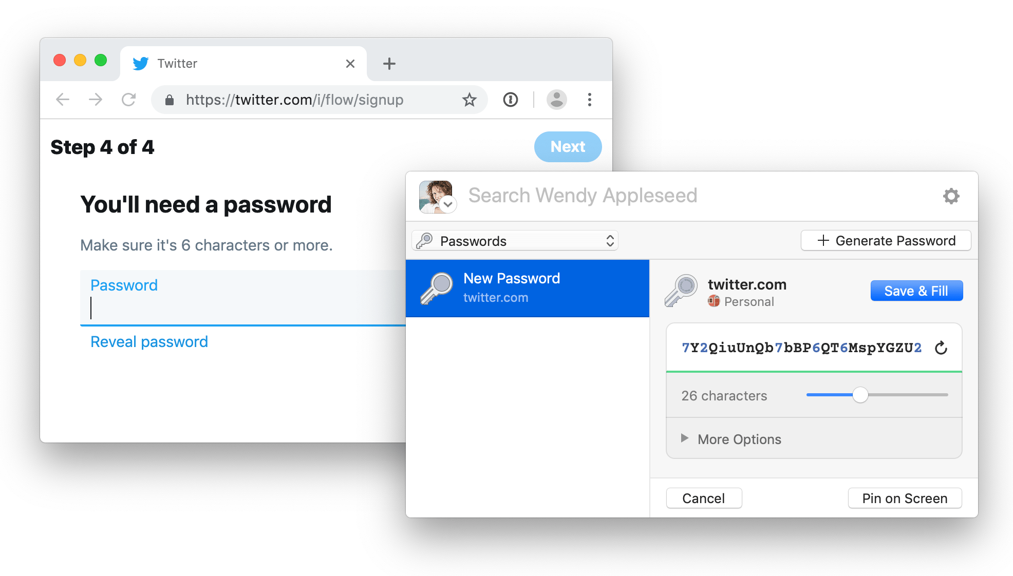 Use the 1Password extension to create a new password