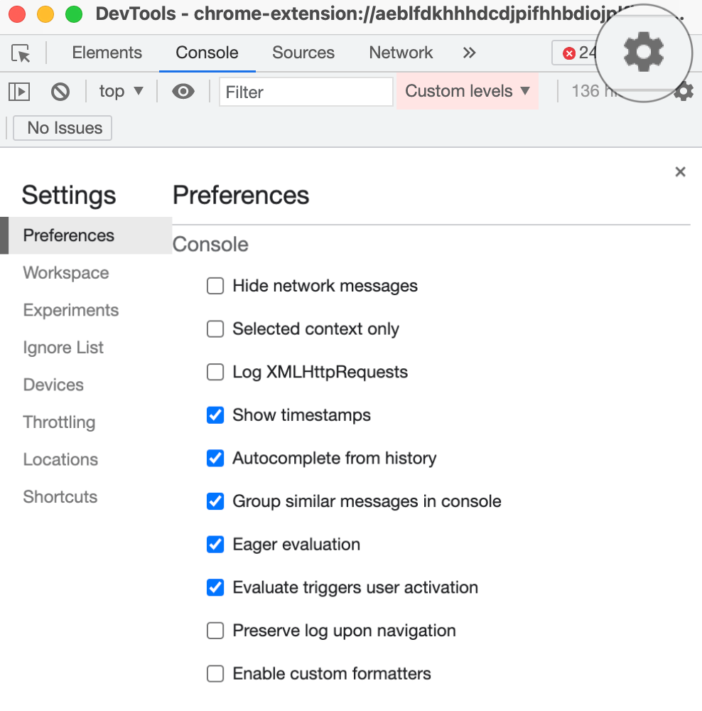 The Setting section in DevTools window with 'Show timestamps' turned on