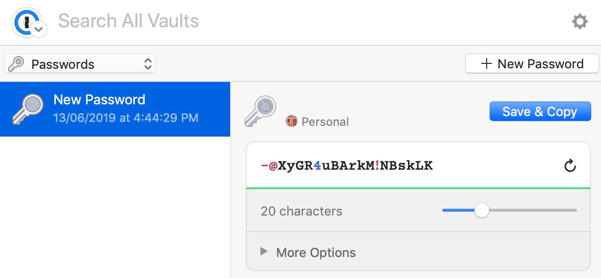 le générateur de mots de passe dans l'extension
