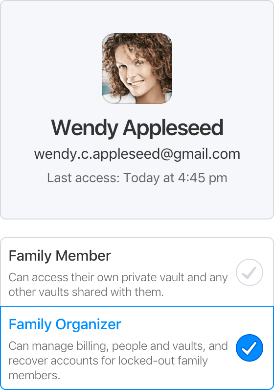 Family Organizer and Family Member roles