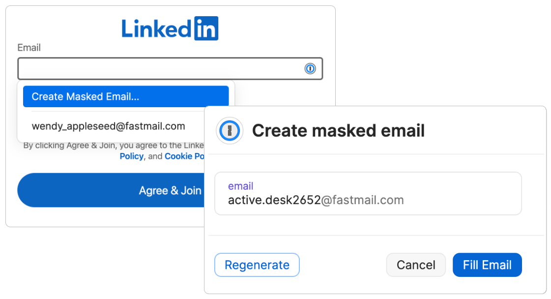 An email field with Create Masked Email selected and a window with the Masked Email active.desk2652@fastmail.com and options to Fill or Regenerate.