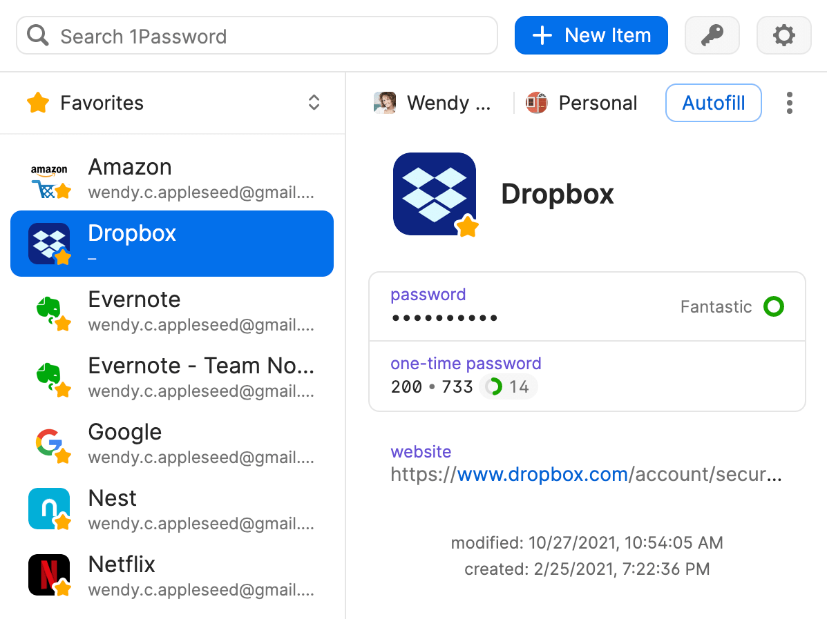 Set up two-factor authentication from the 1Password pop-up