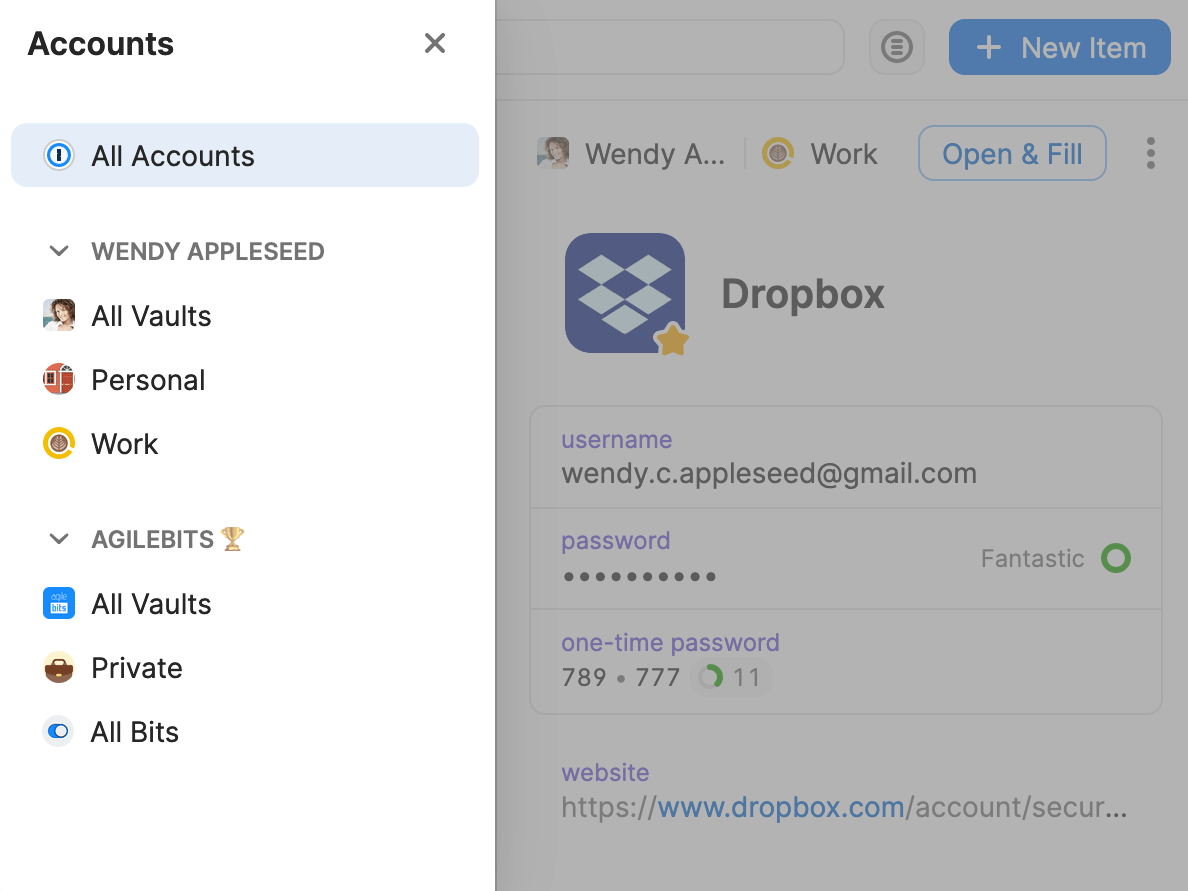 Account and vault list in the 1Password pop-up